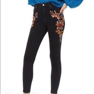 Topshop Moto Jamie Embroidered Skinny Jeans 26